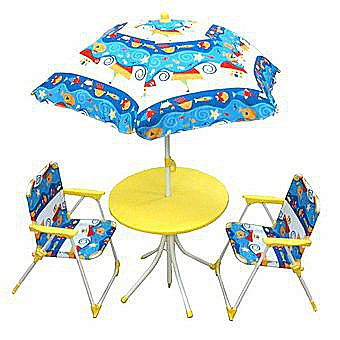 Childrens Garden Table And Chair Set With Parasol Kids Garden Set