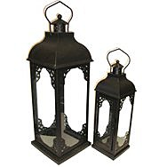 Deville Filagree Black Candle Lanterns Set of 2