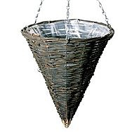 Willow Cone Shaped Hanging Basket and Chain - 14""