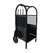 Deville Metal Log Cart With Companion Set Black 977862