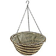 Apollo 12 Inch Raffia Hanging Domed Flower Basket