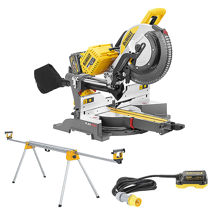 DEWALT DHS780T2 54V Mitre Saw With Leg Stand & 110v Adaptor