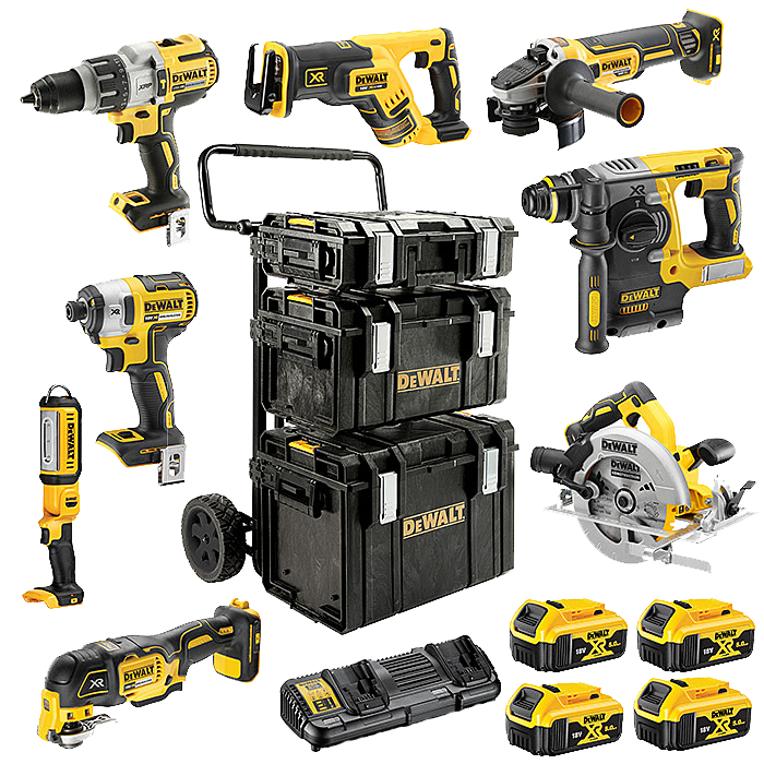 DEWALT 8 Piece ALL Brushless 18V Powertool Kit 4 x 5.0Ah